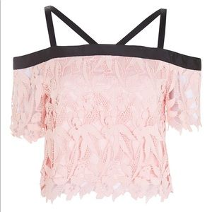 NWT pink lace topshop crop top size 12